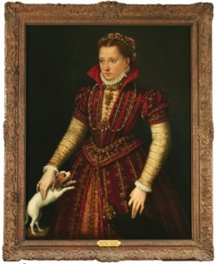 "Lavinia Fontana, ""Portrait of a Noblewoman"", ca. 1580, Oil on canvas, 45 1/4 x 35 1/4 in. Gift of Wallace and Wilhelmina Holladay - OLD FRAME"