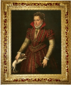 "Lavinia Fontana, ""Portrait of a Noblewoman"", ca. 1580, Oil on canvas, Gift of Wallace and Wilhelmina Holladay, Frame courtesy of NMWA's Texas State Committee;  shown here after the final toning and patination, lending the frame its aged appearance"
