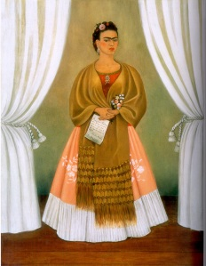 "Frida Kahlo, ""Self-Portrait Dedicated to Leon Trotsky"", 1937, Oil on Masonite, 30 x 24 in., Gift of the Honorable Clare Boothe Luce"