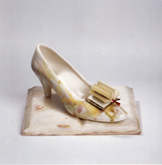 "Mirella Bentivoglio, ""Mirella Cinderella"", 1997, Marble, china, and paper; featured in ""Hard Copy: Book as Sculpture"" at NMWA through January 17, 2010"