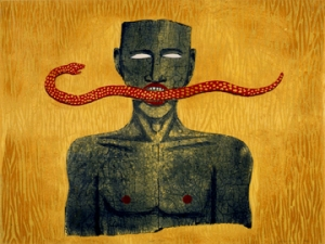 Alison Saar, Snake Man, 1994. Woodcut and lithograph on paper, 33 1/2 x 42 1/2 in. Gift of Steven Scott, Baltimore, in honor of the artist.