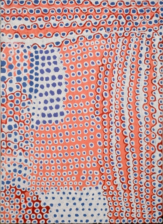 "Eunice Napanangka, born 1940; Language Group: Pintupi; ""Tjukurla - other side of Docker River"", 2001 Acrylic on linen 48 x 66 in. Collection of Ann Shumelda Okerson and James J. O'Donnell; Ikuntji Artists Aboriginal Corporation, Copyright remains with the artist"