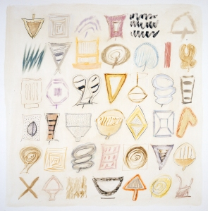 Ida Kohlmeyer, Symbols, 1981. Oil, graphite and pastel on canvas, 69 1/2 x 69 in. Gift of Wallace and Wilhelmina Holladay.