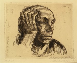 Self Portrait, 1921; Etching on paper, 8 1/2 x 10 1/2 in. Museum purchase: Members' Acquisition Fund © 2002 Artists Rights Society (ARS)/VG Bild-Kunst, Bonn