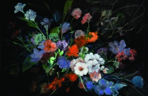 "Clarice Smith, ""Dark Floral"", 2008, Oil on canvas 24 x 36 inches, Courtesy of Gerald Peters Gallery, NY"