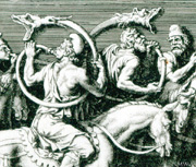 Close-up of an engraving of men blowing animal-shaped horns while on horseback.