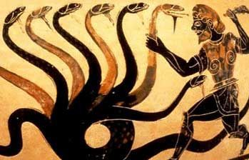 Heracles and the Hydra, Paestan black-figure vase, 6th B.C., J. Paul Getty Museum, Malibu