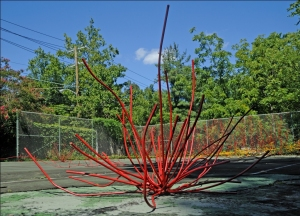 Dalya Luttak, When Nature Takes Over, 2011. Painted steel, roots and vines.