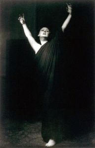 Isadora Duncan performing barefoot; photo by Arnold Genthe during her 1915–18 American tour.