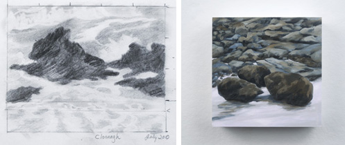 Freya Grand, (Left) Study for Cloonagh, 2010; (Right) Cloonagh Rocks, 2012; Images courtesy of the artist