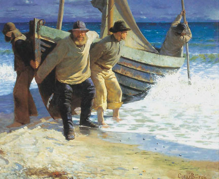 Oscar Björck, Launching the boat, Skagen, 1884; Oil on canvas; Image courtesy of Skagens Museum