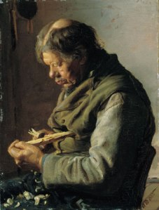Anna Ancher, Old man whittling sticks, (Fisherman Lars Gaihede), 1880