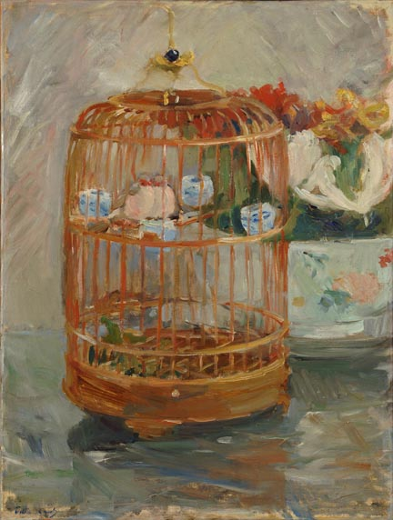 Berthe Morisot, The Cage, 1885; Oil on canvas,19 7/8 x 15 in.; Gift of Wallace and Wilhelmina Holladay
