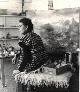 Leonora Carrington in her studio in Mexico City, ca. 1950, by Emeric Weisz; Courtesy of Paul Weisz -Carrington