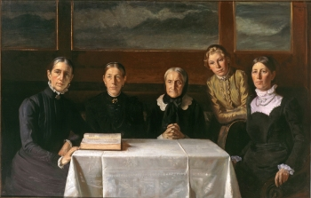 Michael Ancher, Christmas Day 1900 (Marie, Hulda, and Ane Hedvig Brøndum, Helga and Anna Ancher), 1903; Oil on canvas, 55 ⅞ x 87 in.; Skagens Museum