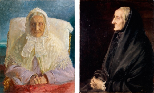 (left) Anna Ancher, Portrait of mother (Mrs. Ane Brøndum), 1913; Oil on canvas, 31 x 24 ⅞ in.; Skagens Museum and (right) Anna Ancher, Mrs. Ane Hedvig Brøndum (Anna Ancher's Mother), ca. 1905; Oil on canvas, 21 7/8 x 17 1/2 in,; Skagens Museum