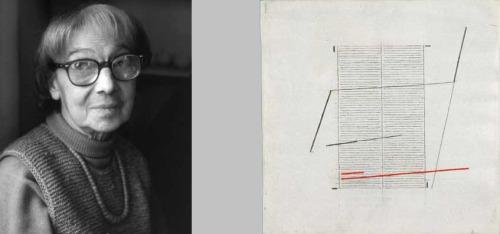 Bice Lazzari (left) and Acrilico K, 1979; Acrylic on canvas; Both images courtesy of Archivio Bice Lazzari