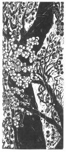 Naoko Matsubara, Plum Blossoms, 1985; black woodcut print (single block, pine, on pure kozo paper), 68.6 x 49.5 cm.; As featured in Tree Spirit