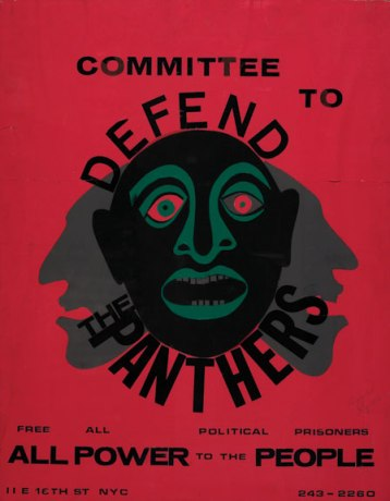 Faith Ringgold, Committee to Defend  the Panthers, 1970; Cut paper poster, 27 5/8 x 21 1/2 in.; (c) Faith Ringold, image Jim Frank, courtesy of Faith Ringgold and ACA Galleries