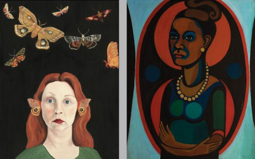 The artists' self-portraits encapsulate their differing styles; Left: Audrey Niffenegger, Moths of the New World, 2005; Courtesy of the artist; Right: Faith Ringgold, Early Works #25: Self-Portrait, 1965; (c) Faith Ringgold, photo Jim Frank