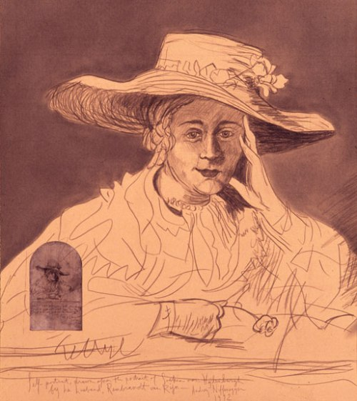 Audrey Niffenegger, Self-Portrait as Rembrandt's Wife, Saskia, 1992; Graphite with Xerox on Bugra paper, 34 x 28 1/2 in.; Collection of Chapman and Cutler, LLP, Chicago; Image courtesy of the artist