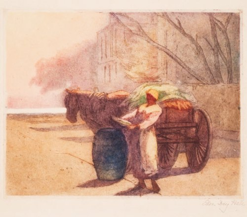 Ellen Day Hale, Early Morning Vegetables, Charleston, South Carolina, ca. 1924; Hand-colored etching on paper; NMWA, Gift of Wallace and Wilhelmina Holladay