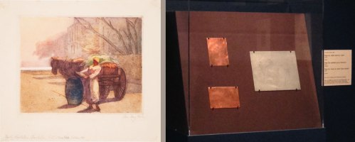 Left: Early Morning Vegetables, Charleston, South Carolina, ca. 1924; Hand-colored etching on paper; Right: A series of etching plates on view includes a plate for Early Morning Vegetables, allowing gallery visitors to see Hale's preparatory work alongside finished prints