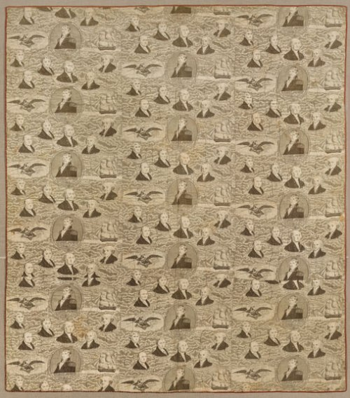 Whole-Cloth Quilt, ca. 1830s; Cotton toile, 70 x 85 in.; Brooklyn Museum, Gift of Margaret S. Bedell; 28.111; Photography by Gavin Ashworth, 2012, courtesy of the Brooklyn Museum