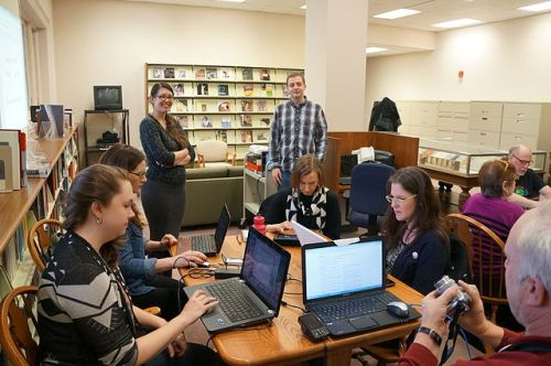 At the 2014 Feminism and Arts Edit-a-thon, DC Wikimedians at the National Museum of Women in the Arts, in the Betty Boyd Dettre Library and Research Center; Image courtesy of Wikimedia Commons