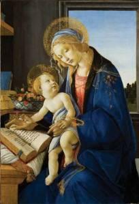Sandro Botticelli (Alessandro Filipepi), Madonna and Child (Madonna col Bambino), also called Madonna of the Book (Madonna del Libro), 1480–81; Tempera and oil on wood panel, 22 7/8 × 15 5/8 in.; Museo Poldi Pezzoli, Milan; inv. 443