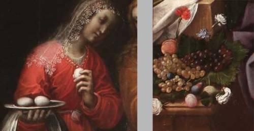 The Birth of St. John the Baptist, (Nascita di San Giovanni Battista) (details), ca. 1635; Oil on canvas, 112 1/4 × 77 1/2 in.; Parrocchia Sant'Antonio di Padova, Moncalvo, Asti