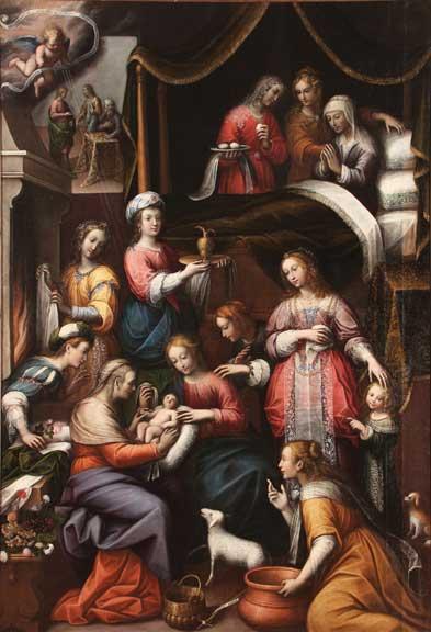 The Birth of St. John the Baptist, (Nascita di San Giovanni Battista), ca. 1635; Oil on canvas, 112 1/4 × 77 1/2 in.; Parrocchia Sant'Antonio di Padova, Moncalvo, Asti