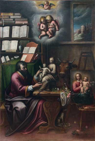 St. Luke the Evangelist in the Studio (San Luca Evangelista nello Studio), ca. 1625; Oil on canvas, 109 × 74 3/8 in.; Parrocchia Sant'Antonio di Padova, Moncalvo, Asti