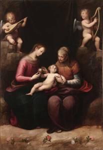 Madonna and Child with St. Anne (Madonna col Bambino e Sant'Anna), ca. 1630s; Oil on canvas, 113 × 72 7/8 in.; Parrocchia Sant'Antonio di Padova, Moncalvo, Asti