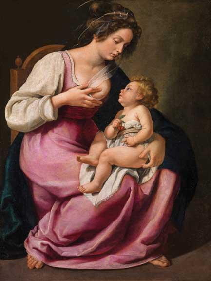 Artemisia Gentileschi, Madonna and Child (Madonna col Bambino), 1609–10; Oil on canvas, 46 1/2 × 33 7/8 in.; Galleria Palatina, Palazzo Pitti, Florence; inv. 1890 no. 2129