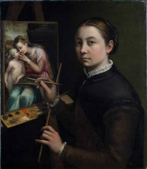 Sofonisba Anguissola (Cremona, ca. 1532–Palermo, 1625), Self-Portrait at the Easel, 1556; Oil on canvas, 26 × 22 3/8 in.; Muzeum-Zamek, Łańcut; inv. 916MT