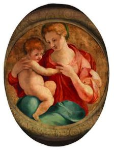 Pontormo (Jacopo Carrucci) (Pontormo, near Empoli, 1494–Florence, ca. 1556/57), Madonna and Child (Madonna col Bambino), 1527; Oil on wood panel, 41 3/4 × 31 1/2 × 2 3/8 in.; Palazzo Capponi alle Rovinate, Florence