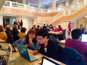 Editors at work at the Wikipedia Edit-a-thon; Photograph by Kat Brewster